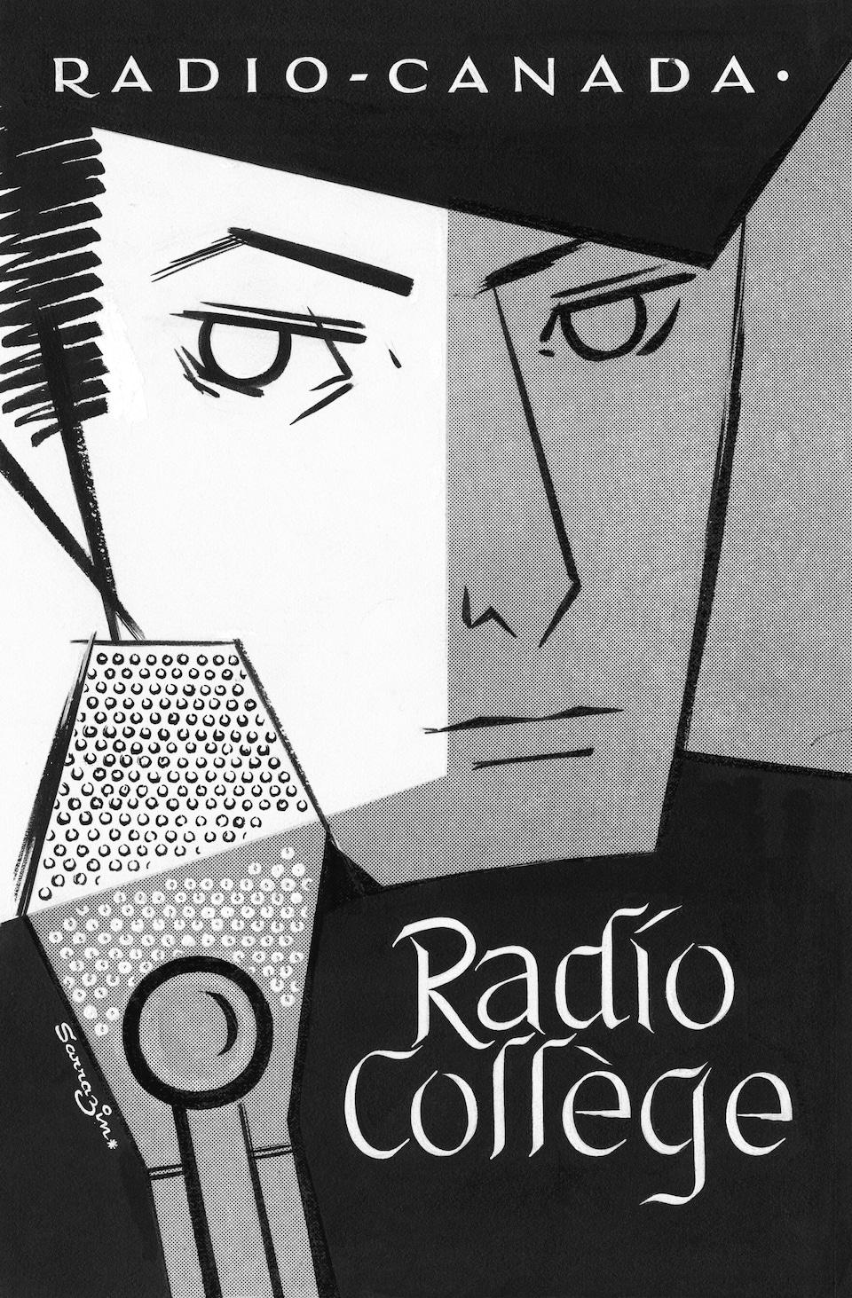 Illustration d'un jeune homme sérieux derrière le micro avec le titre de l'émission, «Radio-Collège».