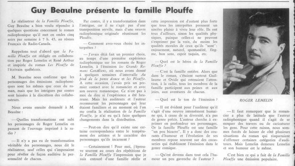 Coupure d'article tirée de l'hebdomadaire «La semaine à Radio-Canada» avec une photo de Roger Lemelin.