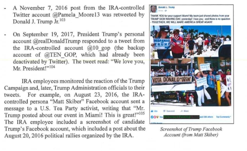Dans le rapport, nous voyons une capture d'écran d'une publication Facebook de la page officielle de Donald Trump, où il félicite les participants à un rallye en son honneur. Il inclut des photos de ces rallyes dans sa publication.