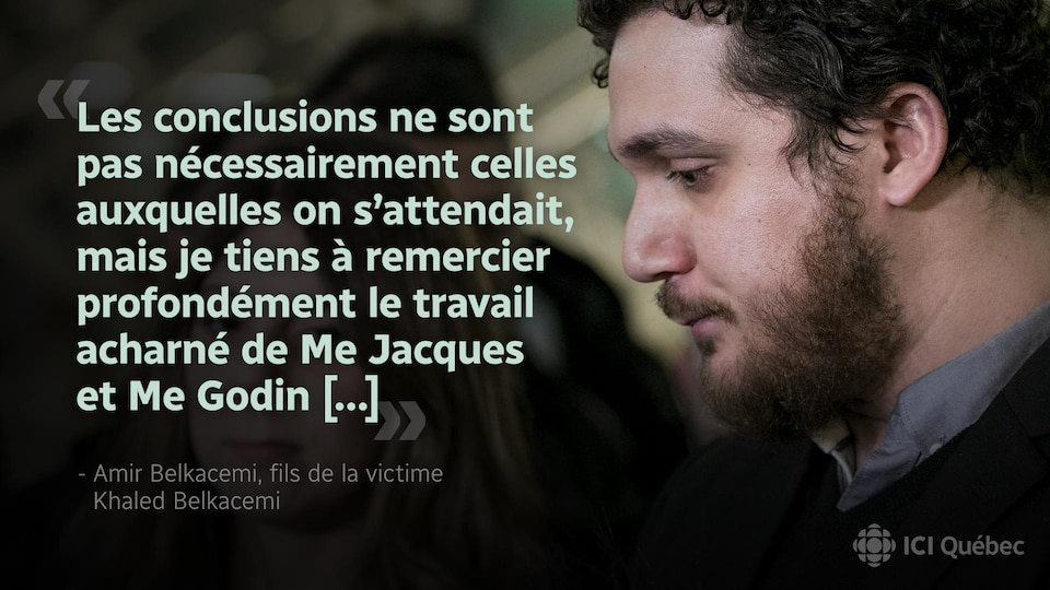 Réaction d'Amir Belkacemi, fils de la victime Khaled Belkacemi : «Les conclusions ne sont pas nécessairement celles auxquelles on s'attendait, mais je tiens à remercir profondément le travail acharné de Me Hacques et Me Godin [...]»