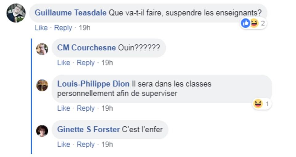 Des commentaires publiés sur Facebook