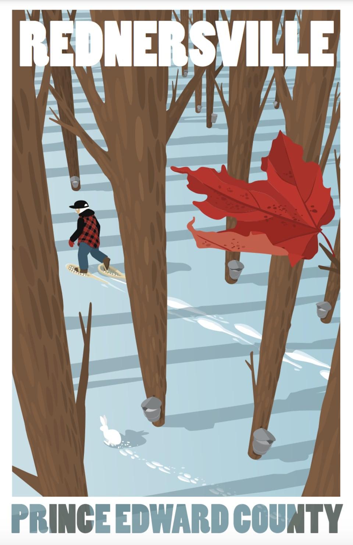 Une affiche de Rednersville dans une forêt d'érables.