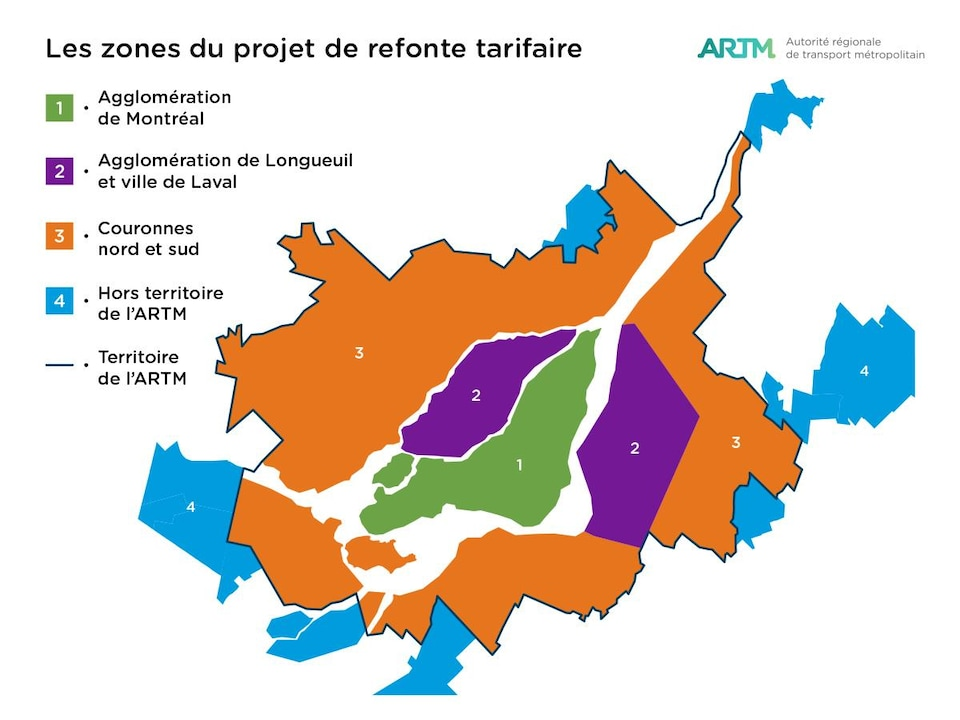 Une carte des zones du projet de refonte tarifaire.