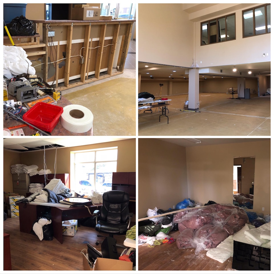 Un montage de quatre photos qui montrent que le bâtiment est toujours en rénovation.