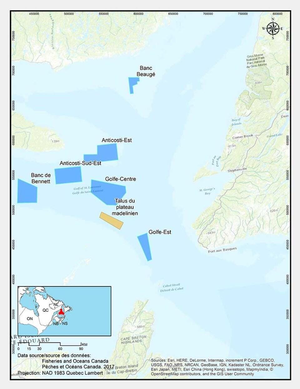 Carte de sept nouveaux refuges marins créés par Pêches et Océans