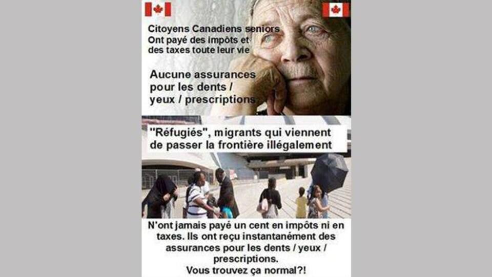 """Image qui circule sur Facebook. «Citoyens canadiens seniors (sic) ont payé des impôts et des taxes toute leur vie, aucune (sic) assurances pour les dents / yeux / prescriptions. """"Réfugiés"""", migrants qui viennent de passer la frontière illégalement n'ont jamais payé un cent en impôts ni en taxes. Ils ont reçu instantanément des assurances pour les dents / yeux / prescriptions. Vous trouvez ça normal?» Peut-on lire."""