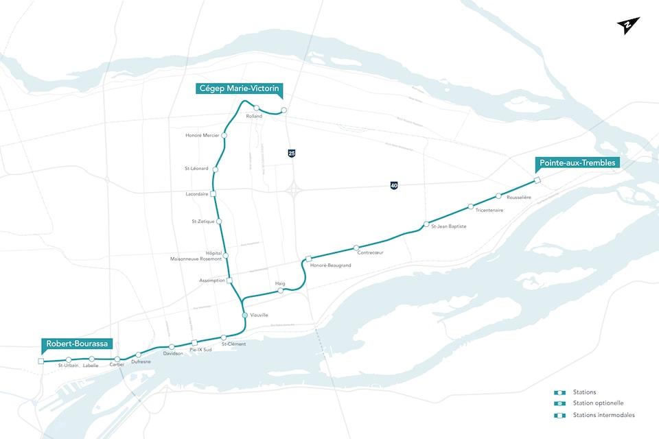 Tracé du prolongement du Réseau express métropolitain vers l'est de Montréal