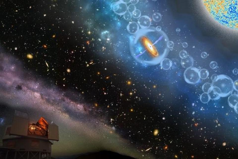 Représentation artistique de l'observation de l'Univers et des quasars.