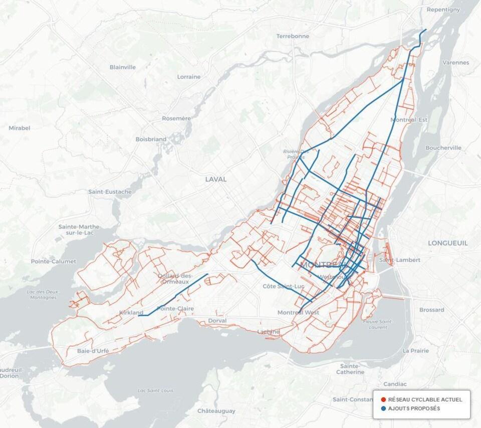 Carte du réseau cyclable à Montréal et des ajouts de pistes proposés.