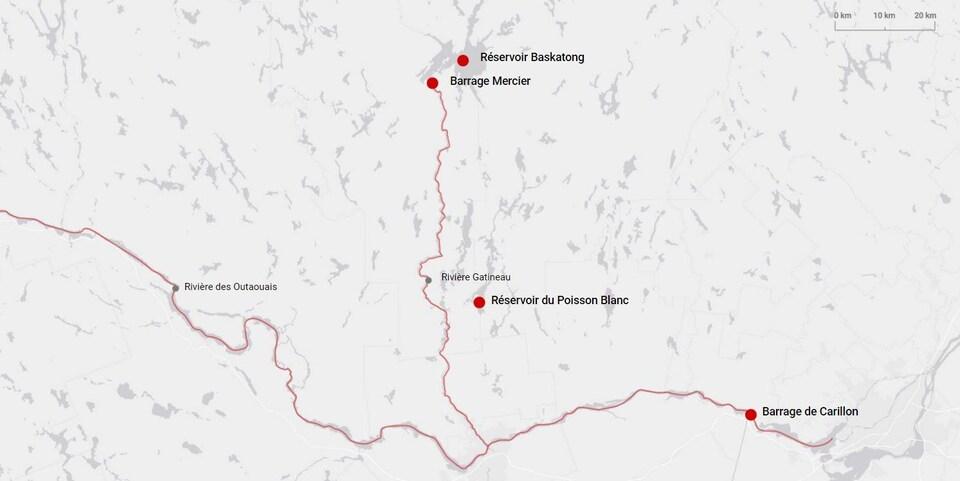 Les grands réservoirs du sud du Québec