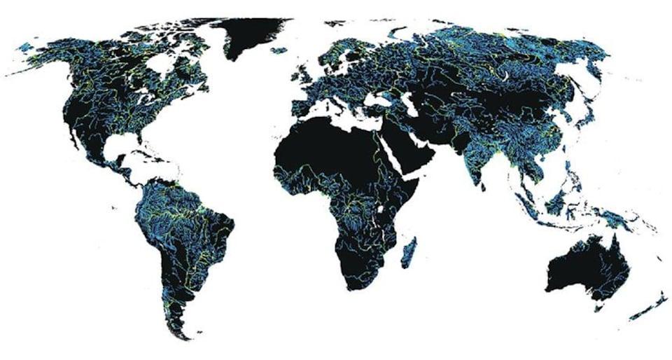 Carte mondiale montrant les rivières.