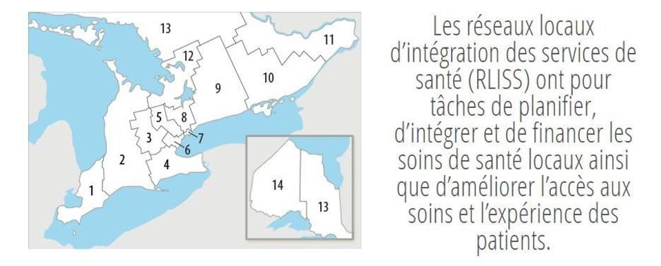 une carte de l'Ontario divisée en 14 régions