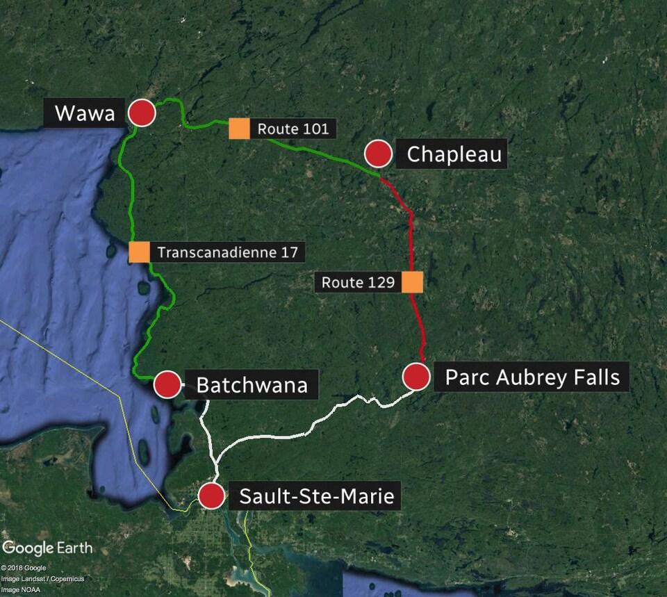 Carte de Google qui montre la route 129 fermée entre Parc Aubrey Falls et Chapleau.