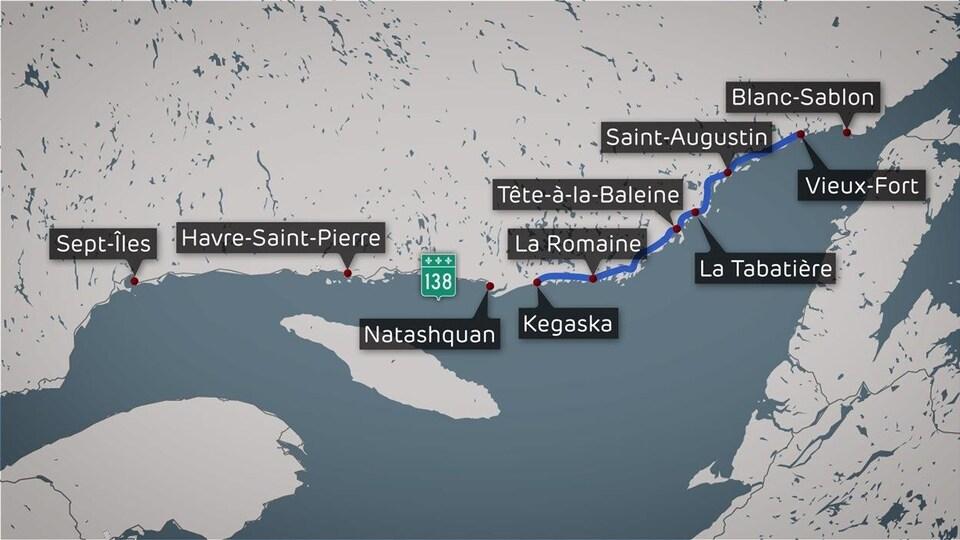 Une carte représentant le tronçon de la Route blanche, en Basse-Côte-Nord