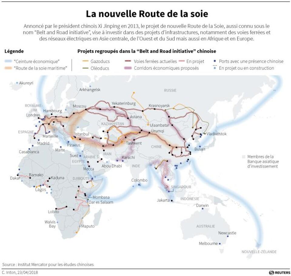 Carte du monde montrant les projets faisant partie de la nouvelle Route de la soie.