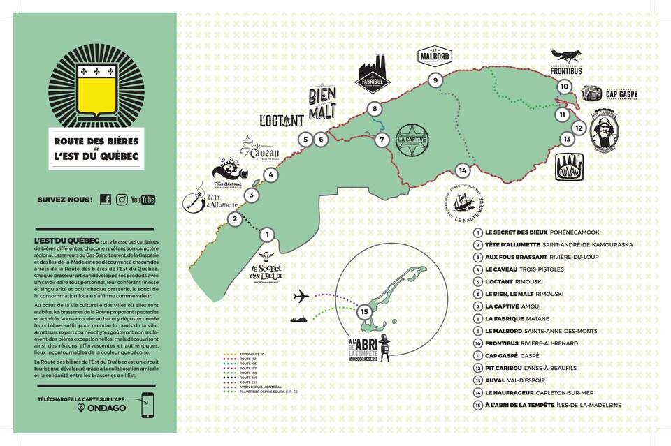 Une carte cible les différentes microbrasseries situées sur la péninsule gaspésienne et au Bas-Saint-Laurent. Il y en a quinze et elles sont numérotées.
