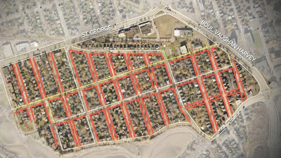 Plan des rues de Moncton-Ouest.
