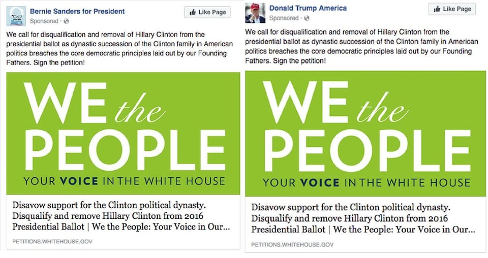 Nous voyons la même publicité deux fois, avec le même texte d'explication qui invite les gens à signer la pétition pour «protéger les principes démocratiques» du pays.