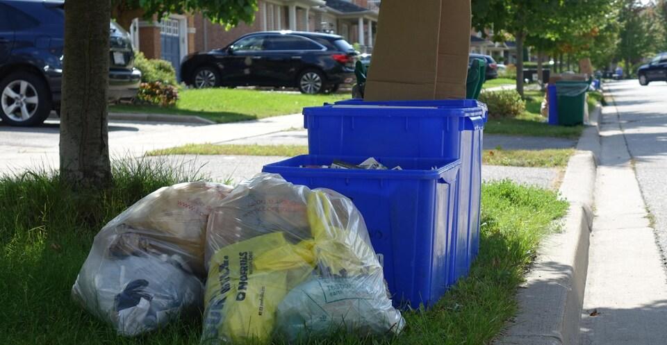 Des sacs transparents aux côtés de bacs de recyclage.