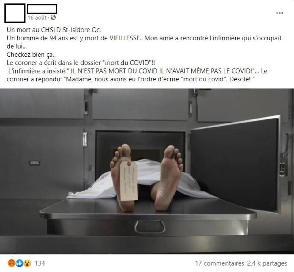 Capture d'écran d'un statut Facebook disant que le coroner a attribué le décès d'un homme de 94 ans mort de vieillesse au CHDSL St-Isidore à la COVID-19.