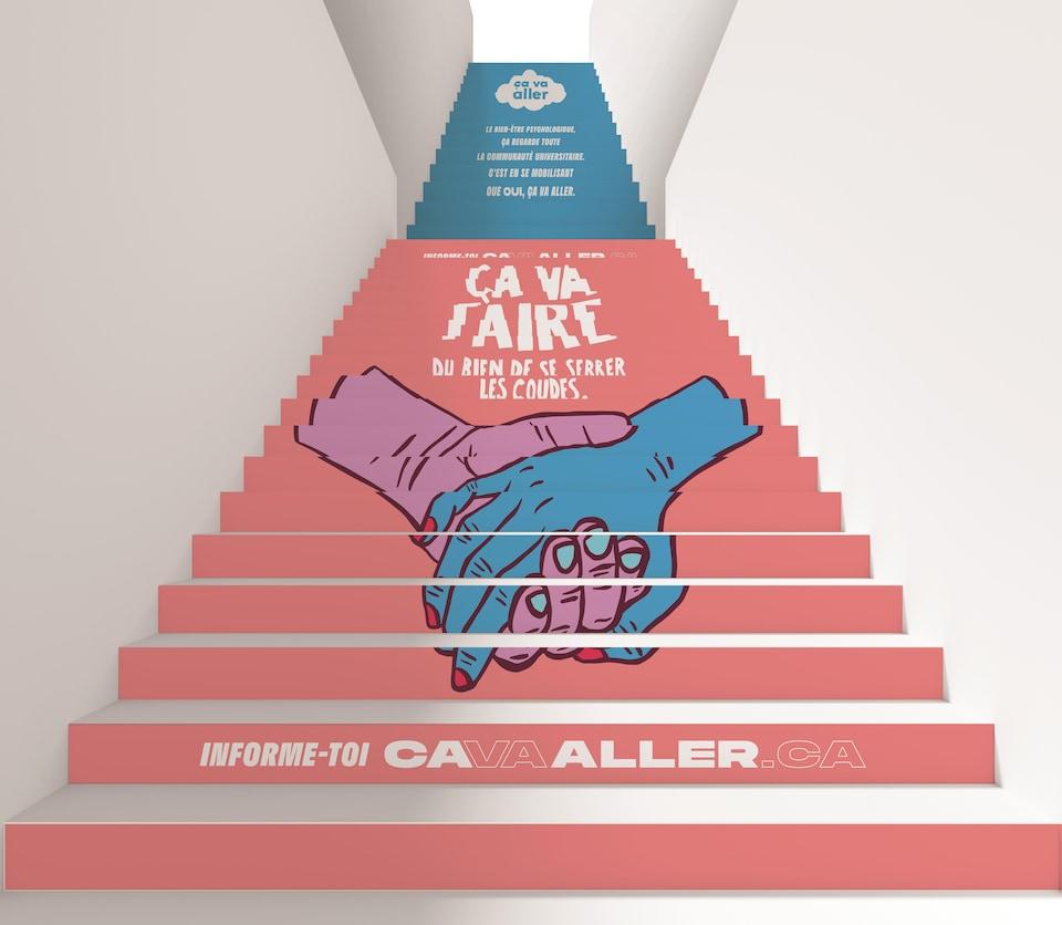 Le titre de la campagne (Ça va aller) est reproduit dans des escaliers de l'Université de Montréal.