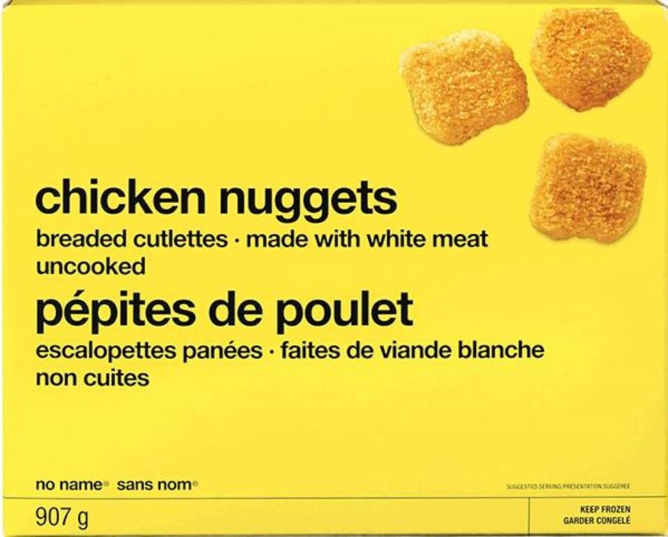 Un emballage de pépites de poulet.