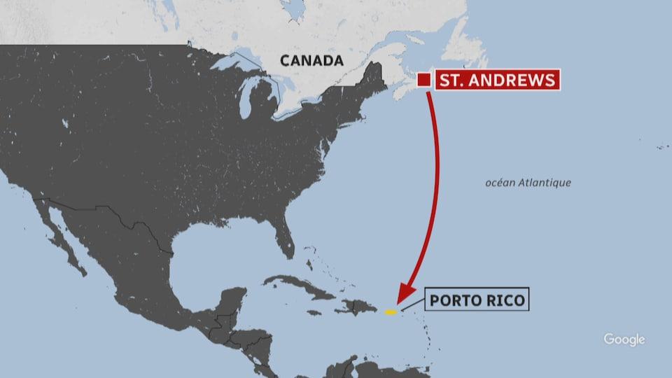 Cartes des Caraïbes indiquant la position de Porto Rico