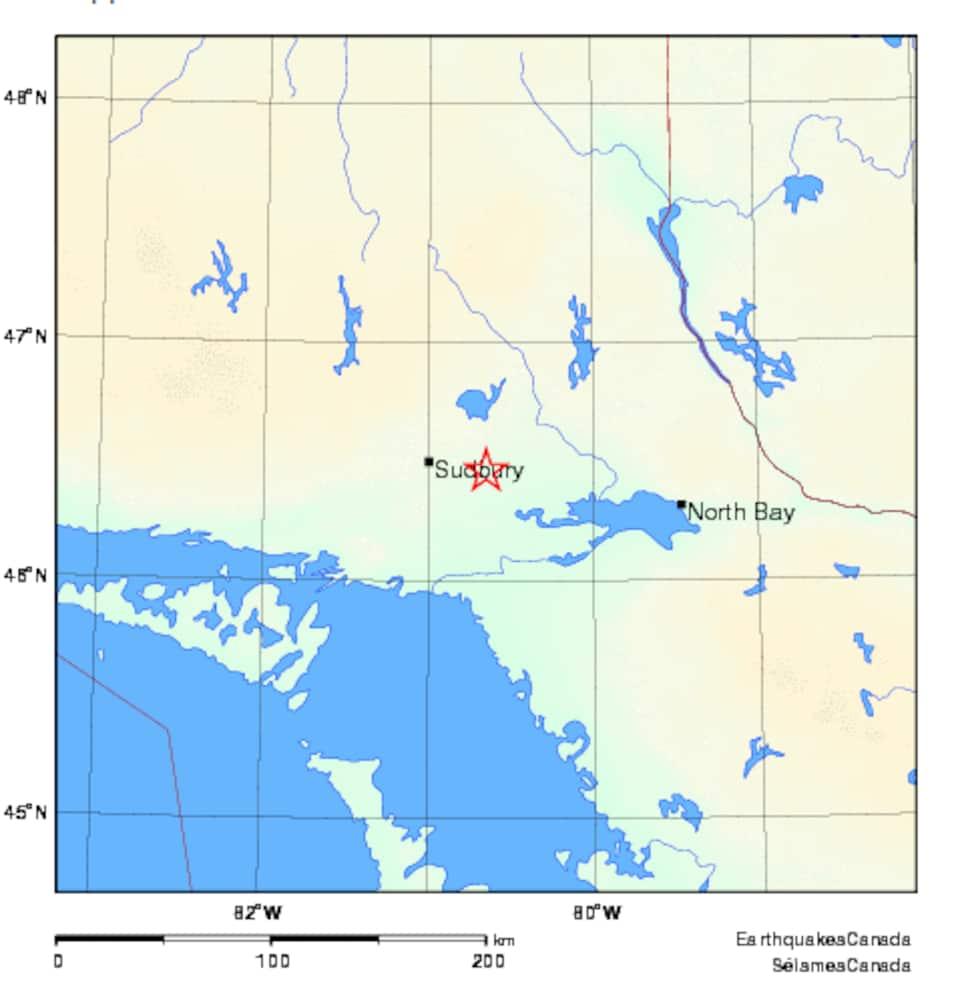 Carte géographique montrant une étoile rouge sur la ville de Sudbury.