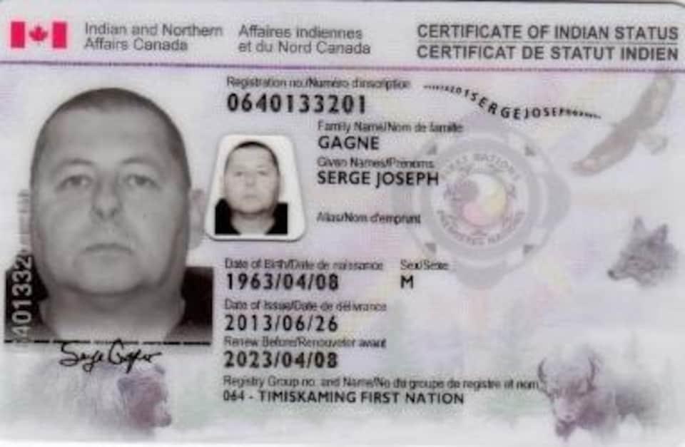 Le certificat de statut d'Indien de Serge Gagné