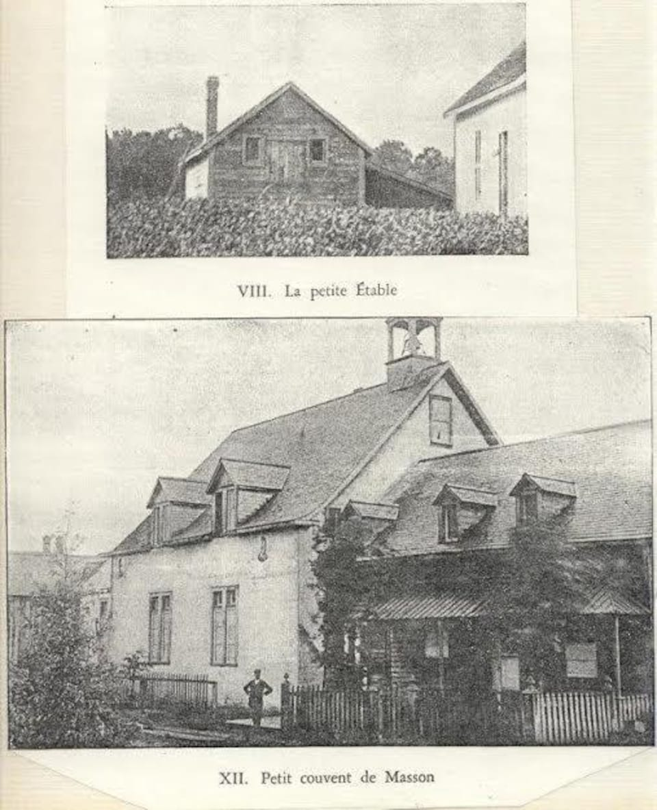 Deux photos qui montrent une étable et un petit couvent à Masson.