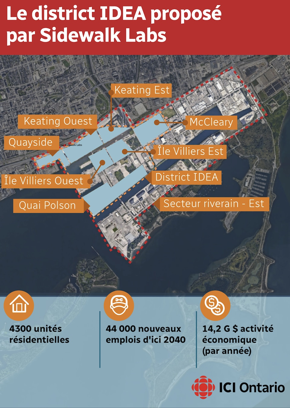Le plan du district IDEA, proposé pas Sidewalk Labs vise à revitaliser une partie du secteur riverain de Toronto.