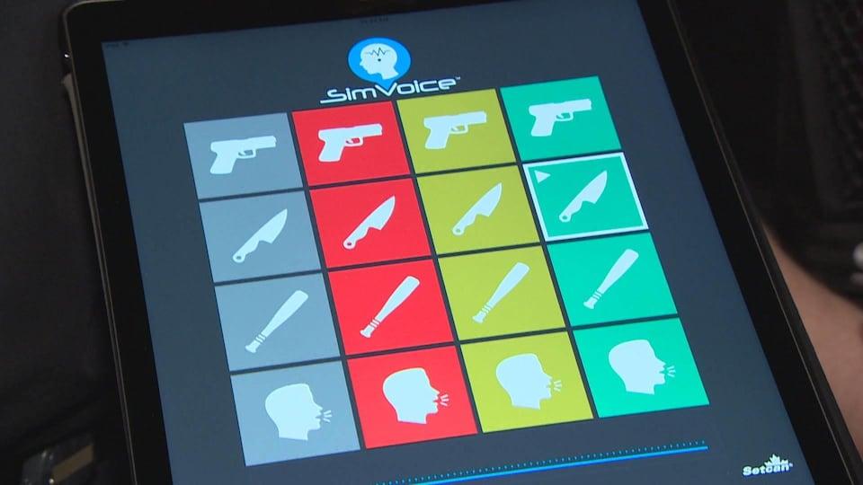 Une application mobile ouverte sur une tablette.