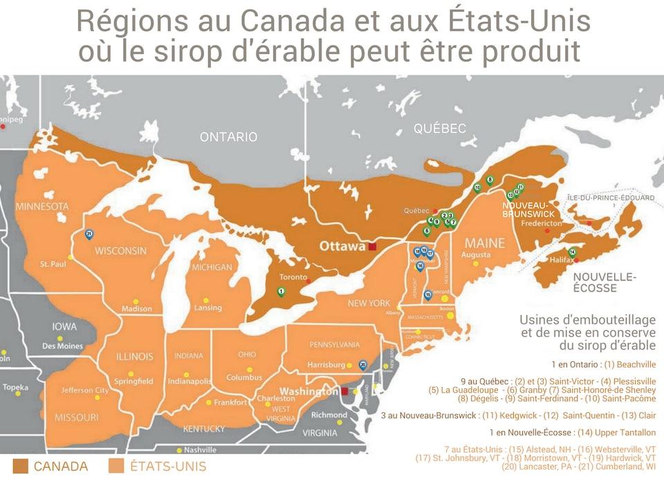 La carte toutes les régions au Canada et aux États-Unis, ainsi que l'emplacement des usines d'embouteillage et de mise en conserve : 1 usine en Ontario, 9 au Québec, 3 au Nouveau-Brunswick et 1 en Nouvelle-Écosse.