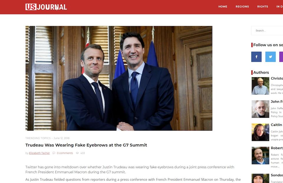 Le texte affirme que «Trudeau portait un faux sourcil au sommet du G7».