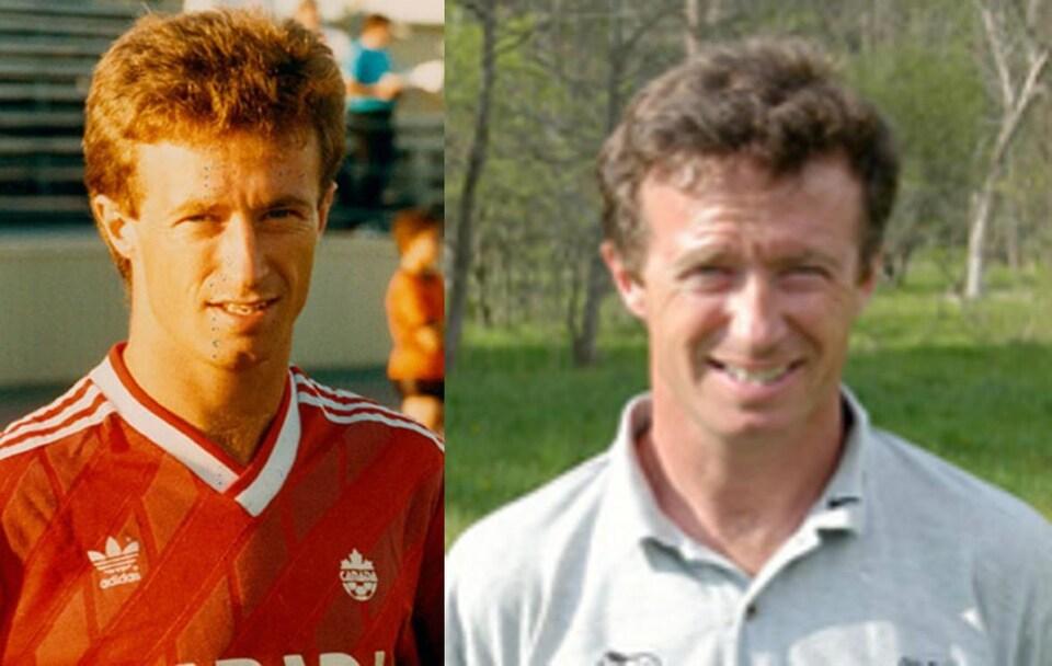 Deux photos de Mike Sweeney : une de 1986, l'autre est sa photo promotionnelle des Whitecaps de Cleveland.