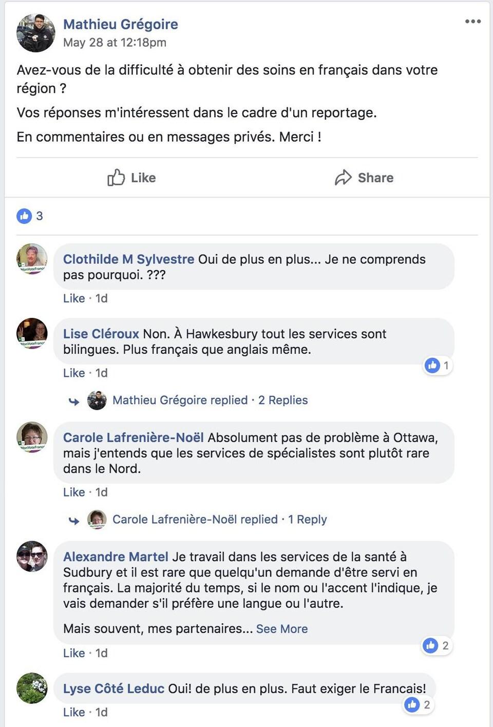 Commentaires des personnes suite à la question posée par Mathieu Grégoire : Avez-vous de la difficulté à obtenir des soins en français dans votre région ? Vos réponses m'intéressent dans le cadre d'un reportage. En commentaires ou en messages privés. Merci!
