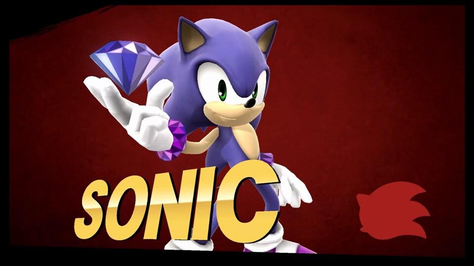 Une capture d'écran du jeu Super Smash Bros. pour Wii U montrant le personnage Sonic le hérisson qui tient une grosse gemme dans sa main droite.