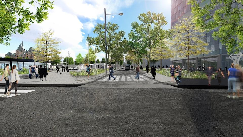 Le nouveau square Viger, avec la perspective de la rue Saint-Denis