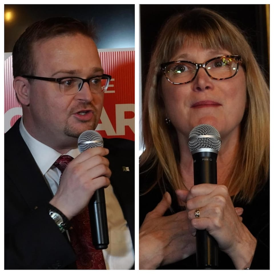 Stephen Blais et Lucille Collard lors de la soirée électorale.