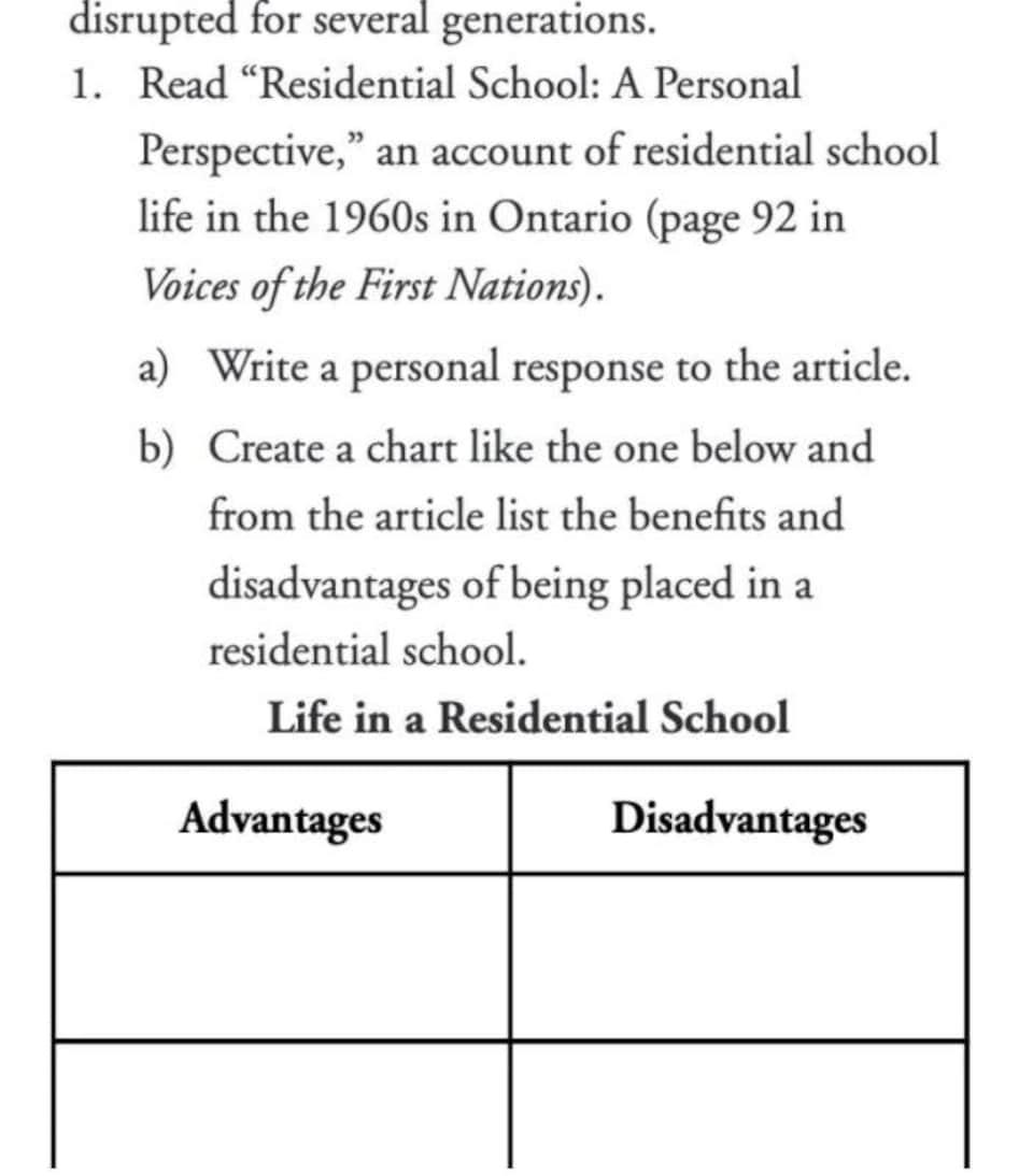 Une capture d'écran sur laquelle on peut voir un tableau « avantages-inconvénients » de la vie en pensionnat pour Autochtones.