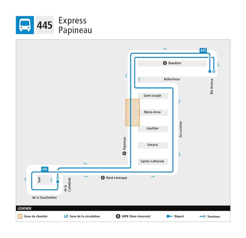 Plan de la nouvelle ligne 445 Express Papineau.