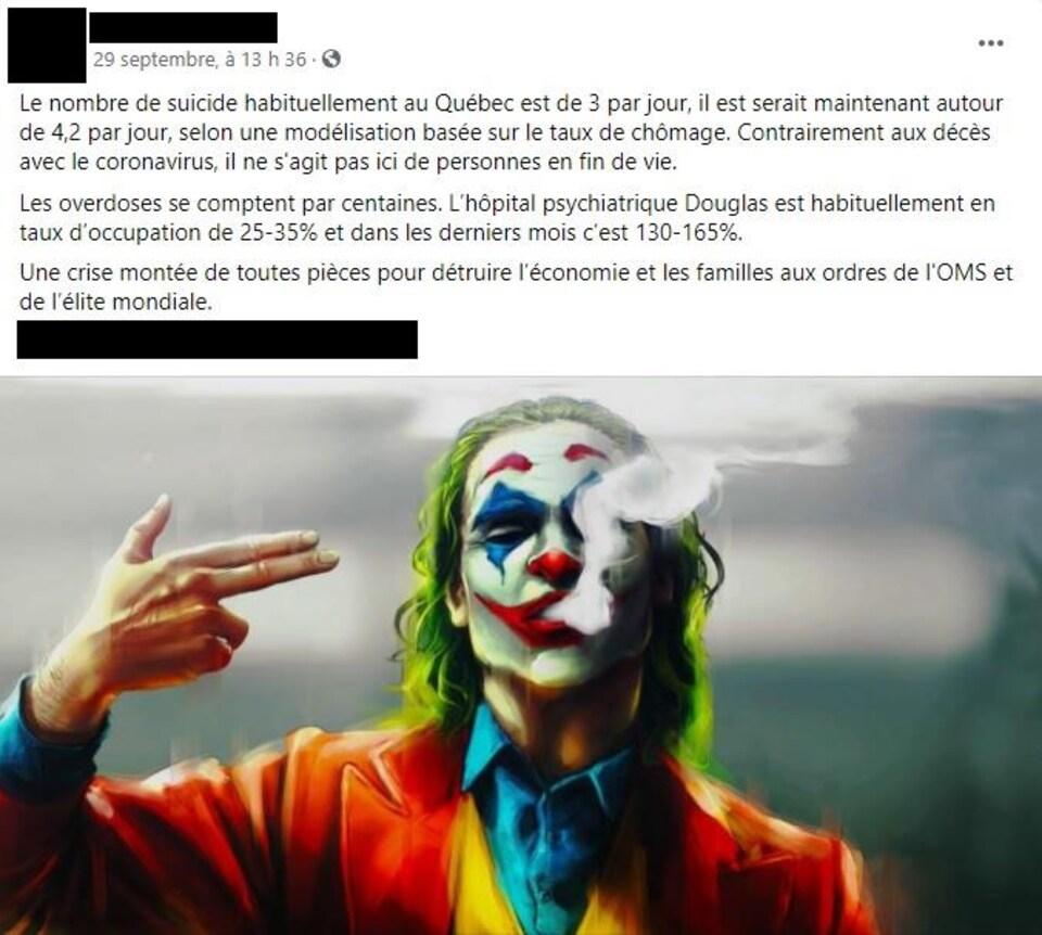 Capture d'écran de la publication Facebook en question, accompagnée d'une image du personnage Joker des bandes dessinées Batman.