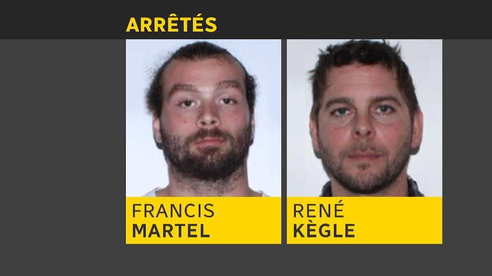 Francis Martel et René Kègle ont été arrêtés et formellement accusés du meurtre prémédités d'Ophélie Martin-Cyr.