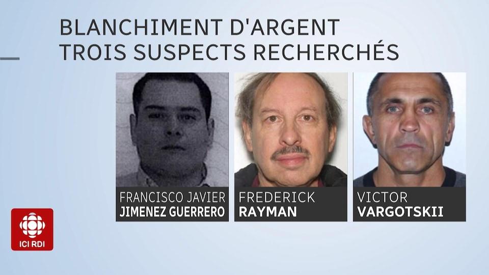Photos de trois hommes recherchés.