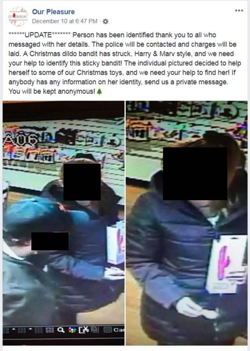 Capture d'écran d'une publication Facebook de deux photos tirées de caméras de surveillance.