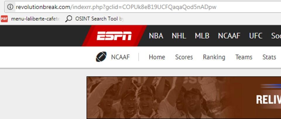 Capture d'écran de l'URL d'un site qui se fait passer pour ESPN. On voit que c'est écrit «revolutionbreak.com», plutôt que «espn.com».