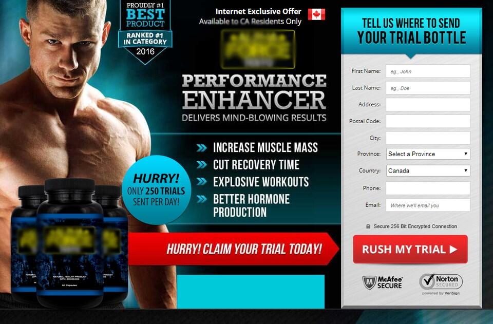 Capture d'écran d'un magasin en ligne où on vend un supplément sportif. On voit l'image d'un homme musclé et des bouteilles de supplément. On peut entrer ses informations personnelles pour acheter le produit.