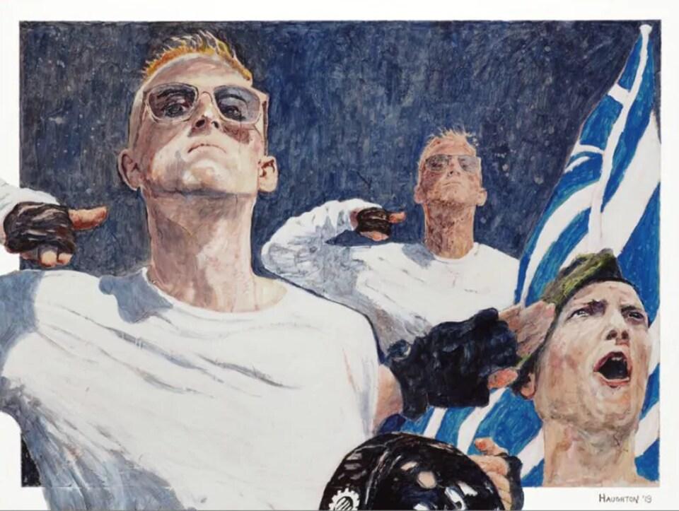 Grand tableau qui représente trois fois le même jeune homme faisant le signe nazi.