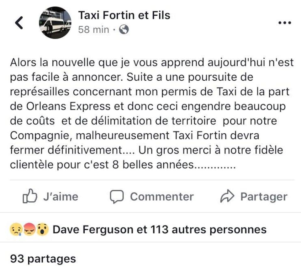 Publication Facebook de Taxi Fortin