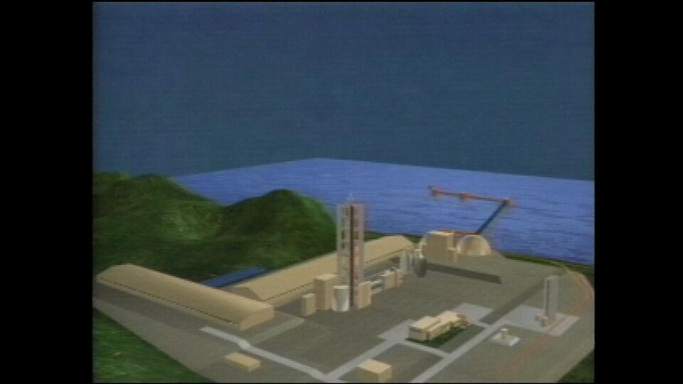 Esquisse de la cimenterie de Port-Daniel dans les années 90